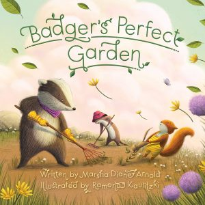 Illustration of a badger gardening with other forest friends.