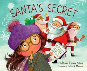 Illustration of girl with purple hat and glasses holding a list of questions to ask three men dressed like Santa.