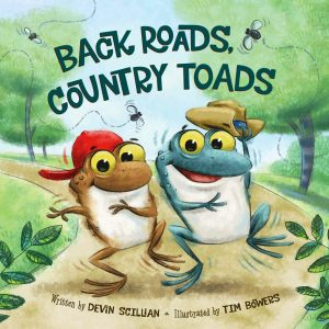 Illustration of a brown toad and a blue toad walking down a road.